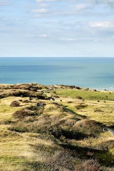 Colpo verticale dei campi vicino alla riva nel nord della francia