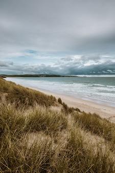 Il colpo verticale dell'erba ha coperto la spiaggia dall'oceano calmo catturato in cornovaglia, inghilterra