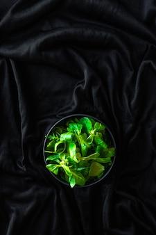 Colpo verticale di foglie verdi canonigos e rucula, per preparare insalate