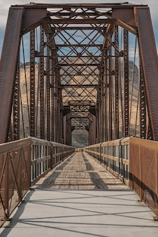Vertical shot of the guffey bridge in idaho, united states