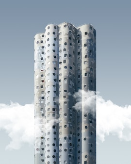 Vertical shot of a high rise exotic skyscraper under the blue sky