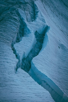 Vertical shot of ice glaciers
