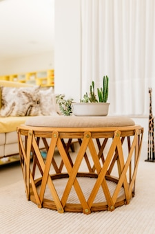 Vertical shot of a modern table in a nice living room