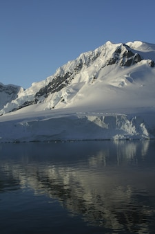 Vertical shot of mountains and glaciers reflected in calm ocean in paradise harbor, antarctica
