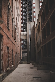 Vertical shot of a narrow alleyway between brick buildings and a high-rise building