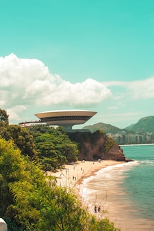 Vertical shot of the niteroi contemporary art museum in brazil