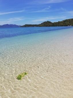 이탈리아의 아름다운 모래 해변의 세로 샷