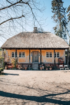 晴れた日に撮影された木々の間の美しい村の家の垂直ショット