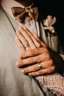 그의 가슴에 여성의 손을 잡고 남성의 세로 샷