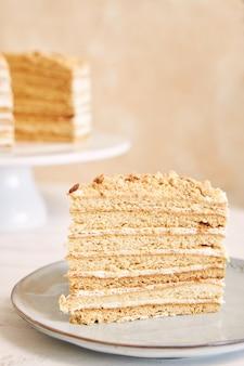 Вертикальный снимок кусочка вкусного слоеного торта с кремом и крошкой на столе