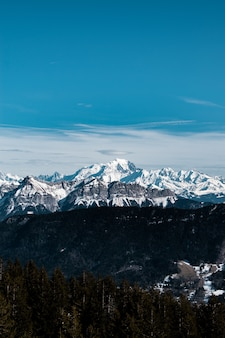 Вертикальный снимок заснеженной горы в дневное время