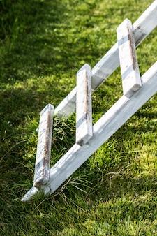 公園の芝生の上の白い木製のはしごの垂直方向のショット