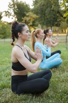 芝生の上の蓮華座に座って、友達と屋外でヨガを練習している運動健康な女性の垂直ショット