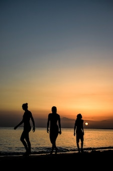 바다 위로 숨막히는 일몰 아래 걷는 사람들의 세로 샷