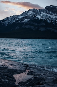 雪に覆われた山の近くの水域の垂直ショット