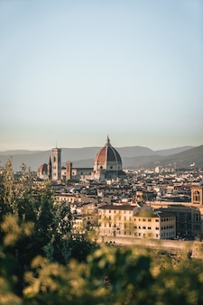 丘からのイタリア、フィレンツェの建物の垂直ショット