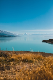 뉴질랜드의 푸 카키 호수와 쿡 산의 세로 샷