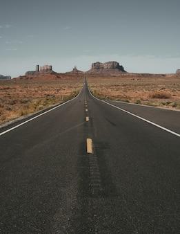 마른 땅으로 둘러싸인 도로의 세로 샷