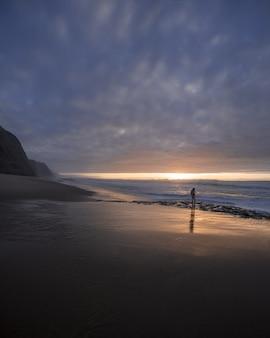 海岸線を歩いている少年と美しい夕日の海岸の垂直ショット