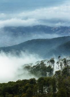Вертикальный снимок дыма, покрывающего гору медведница в загребе, хорватия