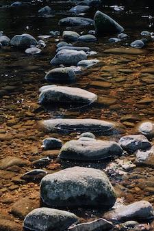 水の流れの真ん中にある石の垂直ショット