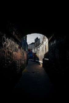 Vertical shot of a pathway in the middle of brick walls with graffiti on them