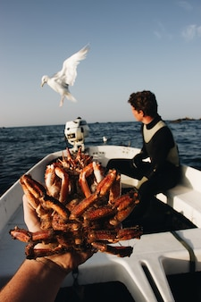 Colpo verticale di una persona che tiene un granchio con un maschio vago che si siede sulla barca vicino ad un gabbiano