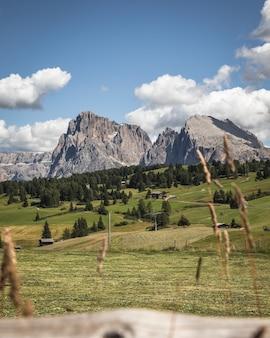 Colpo verticale della montagna sassopiatto a compatsch italia