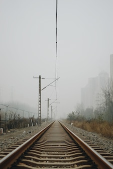 Vertical shot of railroad tracks under a cloudy sky