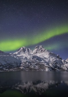 Vertical shot of the reflection of a snow covered mountains in the water under the northern lights