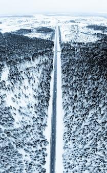 Colpo verticale di una strada circondata da abeti e neve