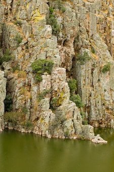 Vertical shot of salto del gitano in monfrague national park in spain, with a green lake