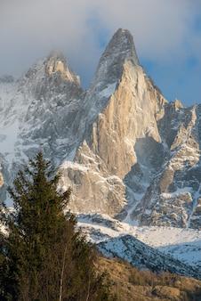 Colpo verticale delle cime innevate di aiguille verte nelle alpi francesi