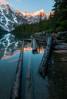 Vertical shot of the snowy mountains reflected in the moraine lake in canada