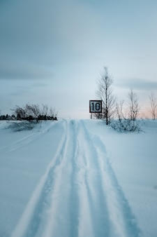 Vertical shot of a speed limit sign on the road covered with snow