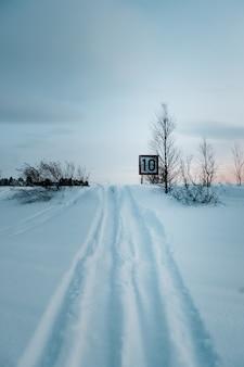 Colpo verticale di un segnale di limite di velocità sulla strada coperta di neve