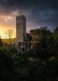 Colpo verticale di una torre a momjan. croazia al tramonto