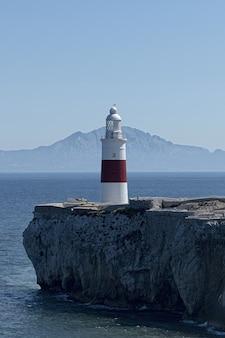 Vertical shot of trinity house lighthouse, gibraltar
