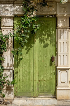 Vertical shot of a unique design of a wooden green door