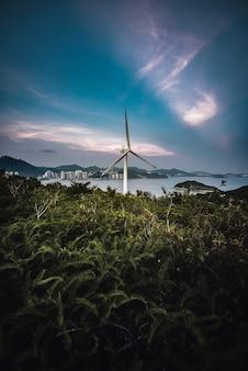 Colpo verticale di una turbina eolica in un campo con il mare sullo sfondo