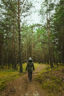 Colpo verticale di una donna che cammina attraverso la foresta