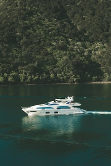 Vertical shot of a yacht on body of water in new zealand