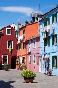 Vertical view of burano island, colorful houses