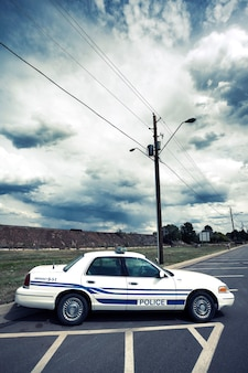 Vertical view of cop car with special photographic processing