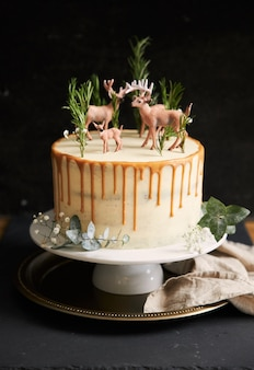 Vertical view of a dreamy cake with white cream and orange drip with a forest and reindeers on top