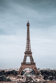 Vertical view on eiffel tower, paris, france.