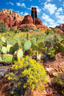 Vertical view of the famous chapel of the holy cross set among red rocks in sedona