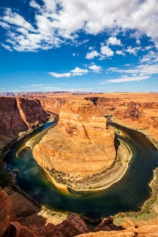 Vertical view of famous horseshoe bend, usa