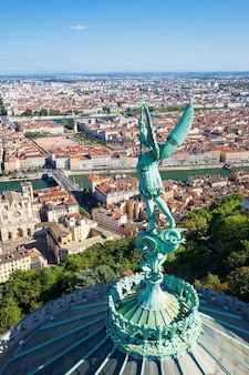 Vertical view of lyon from the top of notre dame de fourviere, france, europe