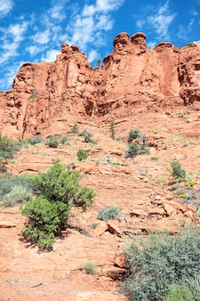 Вертикальный вид на пустынный пейзаж возле седоны
